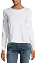 J Brand Crete Long Button-Sleeve Tee