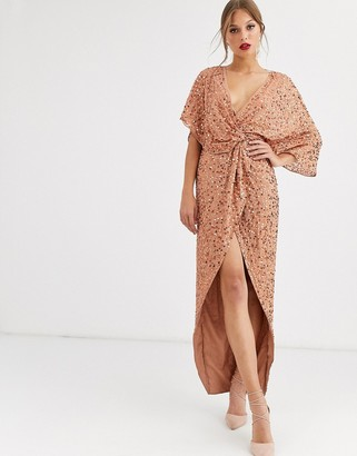 ASOS DESIGN scatter sequin knot front kimono maxi dress