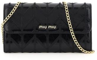 Miu Miu Mini Miu Patchwork Motif Chain Wallet