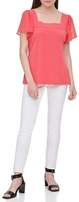 Calvin Klein Flutter Sleeved Square Neck Blouse (Watermelon) Women's Clothing