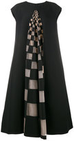 Fendi checked mesh insert midi dress - women - Silk/Polyamide/Wool - 38
