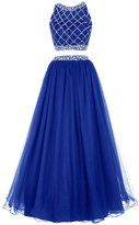 Dresstells® Long Prom Dress Two Piece Beaded Bridesmaid Gown Party Dress