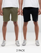 Asos Jersey Shorts In Khaki/Black 2 Pack