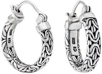 Devata Sterling Silver Bali Byzantine 25mm Hoop Earrings
