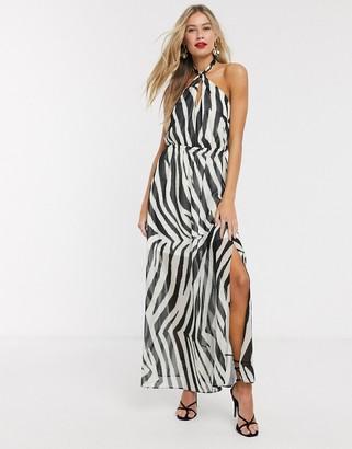 Lipsy x Abbey Clancy halterneck swing dress in zebra print