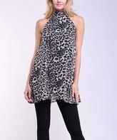 Lbisse Women's Tunics Black - Black & Brown Leopard Sleeveless Mock Neck Top - Women & Plus