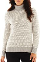 Liz Claiborne Tuck-Stitched Turtleneck Sweater