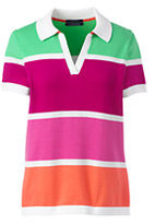 Lands' End Women's Plus Size Supima Cotton Contrast Sweater Polo Shirt-Bright Cherry Stripe