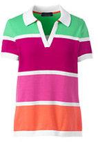 Lands' End Women's Supima Cotton Contrast Sweater Polo Shirt-Cyan Multi Stripe