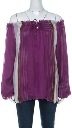 Alberta Ferretti Purple Brown and White Silk Chiffon Off Shoulder Blouse M