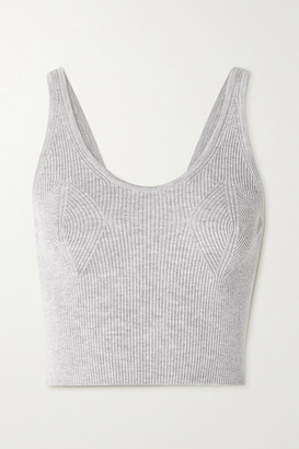 Cordova Cropped Ribbed Merino Wool Tank - Light gray