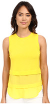 MICHAEL Michael Kors Sleeveless Crew Woven Mix Top