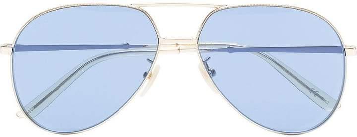 Gucci metallic gold and blue aviator sunglasses