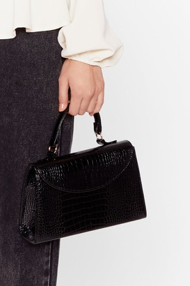 Nasty Gal WANT We Croc Your Back Faux Leather Bag