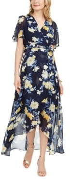 Jessica Howard Floral-Print Faux-Wrap Maxi Dress