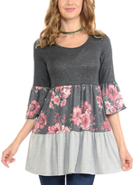 Celeste Charcoal Floral Tiered Three-Quarter Sleeve Tunic