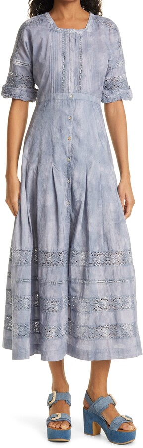 LoveShackFancy Edie Lace Inset Midi Dress