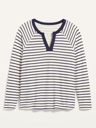 Old Navy Loose Split-Neck Jersey-Knit Plus-Size Raglan-Sleeve Top