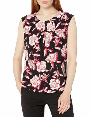 Kasper Women's U-Neck Cap Sleeve Floral Printed Key Hole Knit TOP