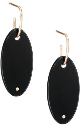 ginette_ny 18K Rose Gold & Black Onyx Ellipse Drop Earrings