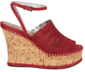 Alaia Laser Cut Suede Platform Wedge Sandals