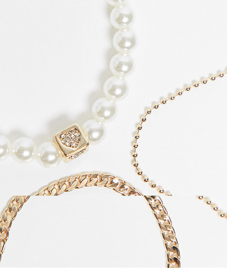 ASOS DESIGN pack of 3 bracelets with mix chain and pearl in gold tone
