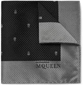 Alexander McQueen Skull And Pin-dot Silk-jacquard Pocket Square - Black
