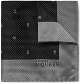 Alexander McQueen Skull and Pin-Dot Silk-Jacquard Pocket Square