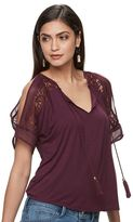 JLO by Jennifer Lopez Women's Cold-Shoulder Lace Top