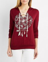 Charlotte Russe Dreamcatcher Graphic Lace-Up Hoodie