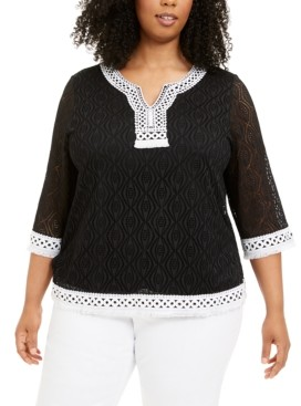 Alfred Dunner Plus Size Checkmate Lace Tunic