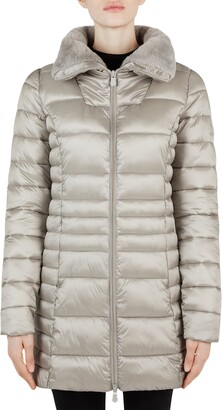Save The Duck Faux Fur Collar Puffer Coat