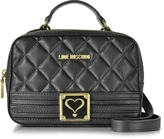 Love Moschino Black Quilted Eco Leather Satchel Bag w/Detachable Shoulder Strap