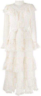 Zimmermann Glassy frilled lace midi dress
