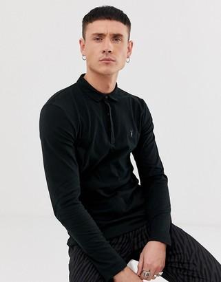 AllSaints Suspender long sleeve ramskull logo polo shirt in black