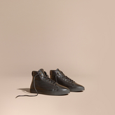 Burberry Shearling Lined Leather High-top Trainers