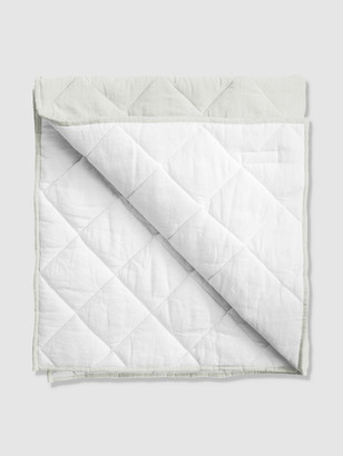 Louelle French Grey + White Linen Reversible Play Mat / Quilt