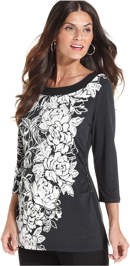 JM Collection Top, Three-Quarter-Sleeve Printed Tunic