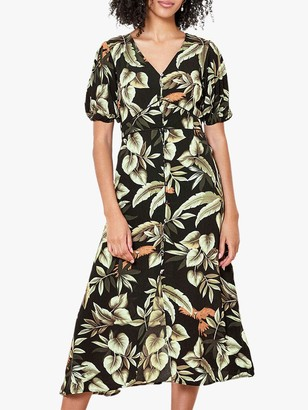 Oasis Parrot Print Midi Dress, Black/Multi