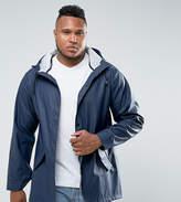 Asos Plus Shower Resistant Rain Coat In Navy