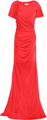 Lanvin Wrap-effect Ruched Satin-jersey Gown