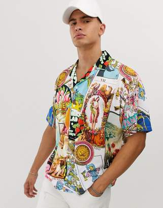 Asos Design DESIGN oversized revere polo with all over mixed print-White
