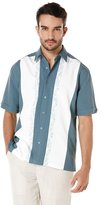 Cubavera Short Sleeve Grid Contrast Side Panels With Ornate Embroidery