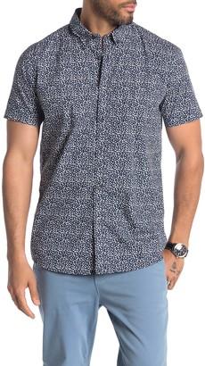 JB Britches Short Sleeve Floral Print Trim Fit Shirt