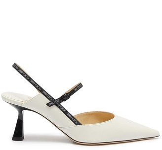 Jimmy Choo 'Ray 65' logo-woven pointed toe slingback nappa leather pumps