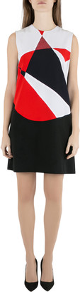 Victoria Victoria Beckham Colorblock Lame Trim Panelled Sleeveless Shift Dress M