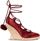 Tory Burch HEATHER SATIN WEDGE LACE-UP ESPADRILLE