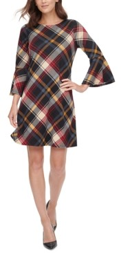 Jessica Howard Plaid Bell-Sleeve Dress