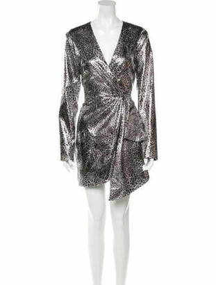 Ronny Kobo Printed Mini Dress w/ Tags Silver