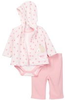 Rene Rofe Hedgehog Hooded Fleece Jacket, Bodysuit & Legging 3-Piece Set (Baby Girls)